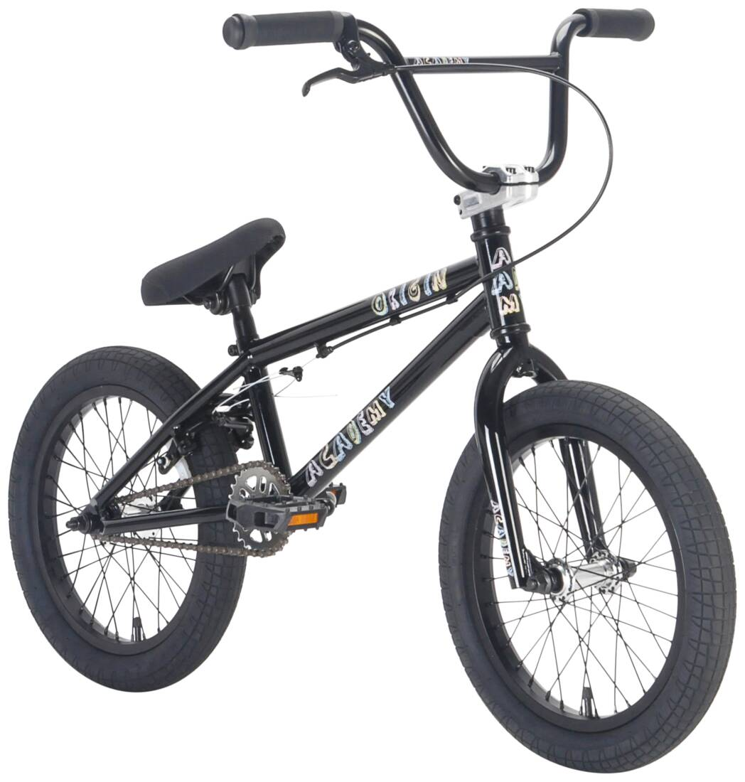 "Academy Origin 16"" 2021 BMX Freestyle Bike - Gloss Black/Polished"