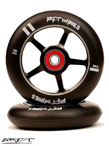 Grit 100mm Spoked Metal Core Wheel - Black