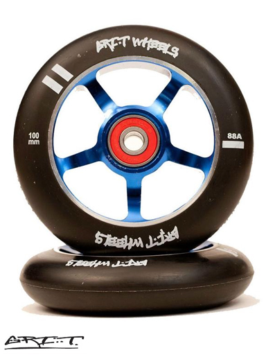 Grit 100mm Spoked Metal Core Wheel - Blue