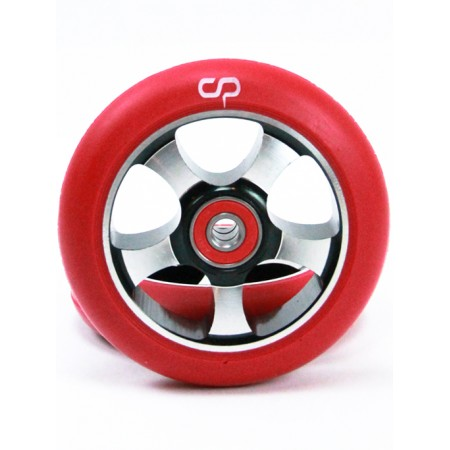 Crisp 5 Spoke 100mm Metal Core Wheel - Black Red