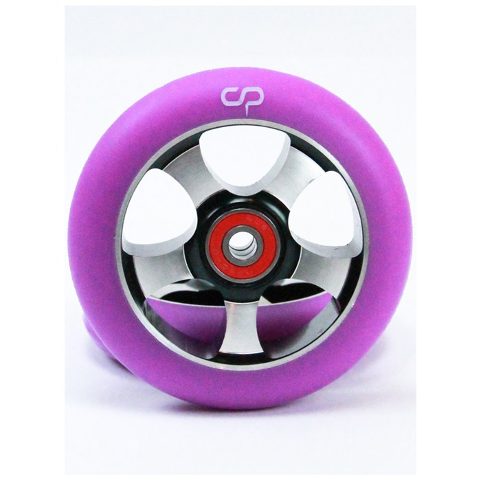 Crisp 5 Spoke 100mm Metal Core Wheel - Black Purple