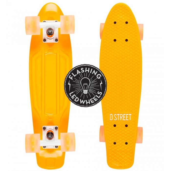 D Street Polyprop Neon Flash LED Cruiser - Orange